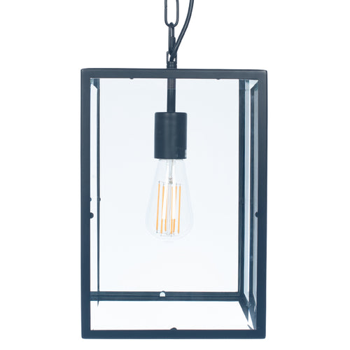 Matt Black Metal & Glass Lantern Pendant