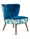 Tropical Blue Velvet Winged Chair