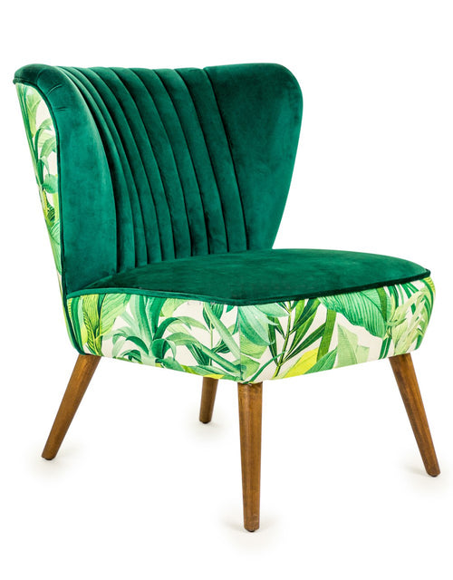 Tropical Green Velvet Winged Chair