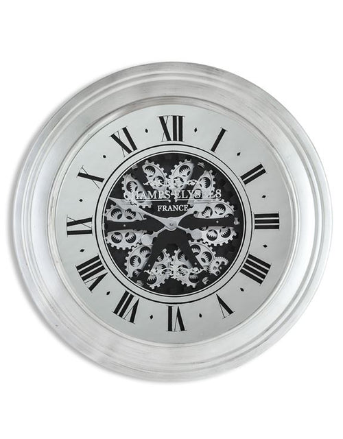 Silver Framed Moving Cog Clock