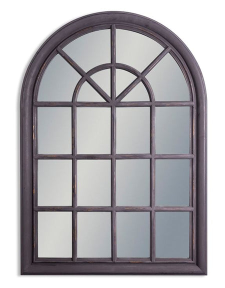 Black Iron Window Mirror with Aged Glass 110cm x 70cm