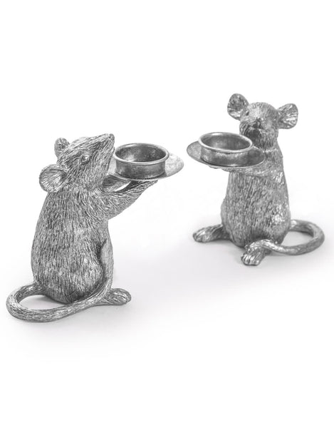 Silver Mice Candle Holders / Pair