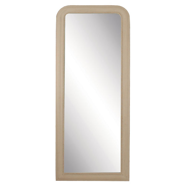 Plain and simple full length dressing mirror which can be hung or leant against the wall.  Finished in a vintage brushed stone colour with a discreet beading detail.    H: 163 cm W: 64 cm