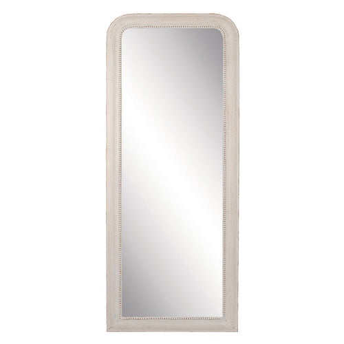 Plain and simple full length dressing mirror which can be hung or leant against the wall.  Finished in a vintage brushed antique white with a discreet beading detail.    H: 163 cm W: 64 cm