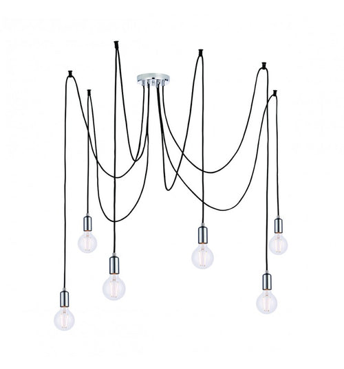 6 Cluster Pendant Chrome Bulb Holder