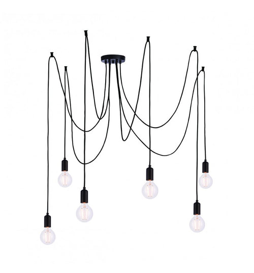 6 Cluster Pendant Black Bulb Holder