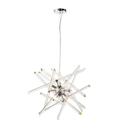 Long Clear and Smoked Crystal Chandelier