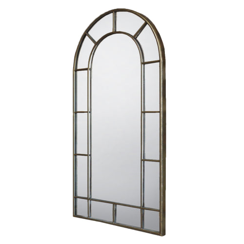 A simple and effective metal window mirror finished in a champagne silver bronze colour.  Suitable for outdoor use.  Perfect for adding detail and interest to any small space in need of a 'lift'.   H: 107 cm W: 55 cm