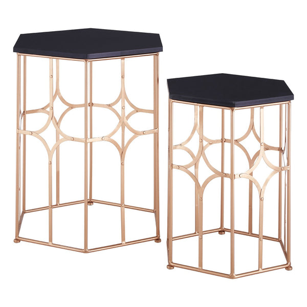 Set Of 2 Rose Copper Iron & Black Top Side Tables