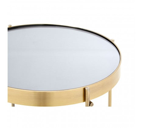 Black Mirrored Glass Side Table