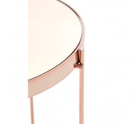 Pink Mirrored Low Side Table