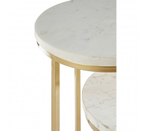 Nest of 2 Marble Topped Side Tables