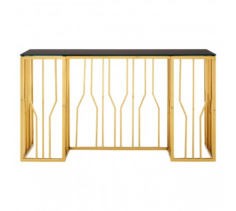 Gilt and Black Glass Console Table