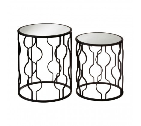 Set of 2 Mirrrored Side Tables