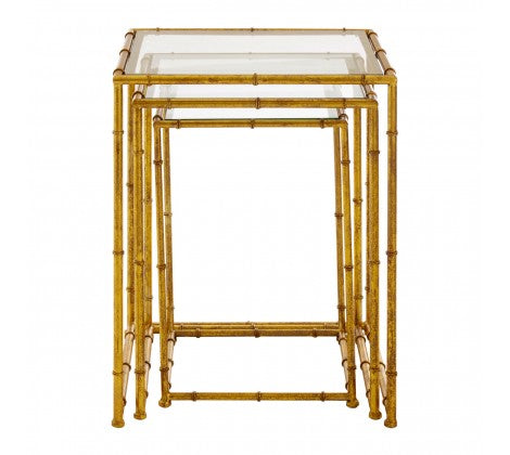 Nest of Gilt Metal /Glass Side Tables