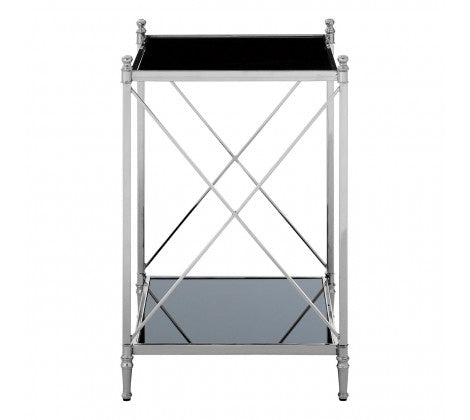 Square Glass Metal Side Table