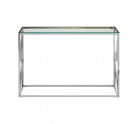 Small Black Wooden Satin Metal Console