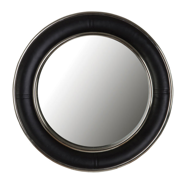 Black Leather Mirror (45 cm)