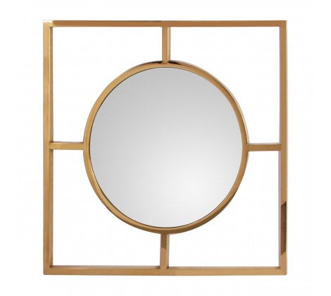 Square Gold Framed Round Mirror 77 x 77