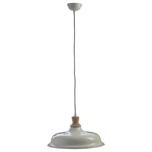White Metal Shade Pendant with Wood Top 40cm