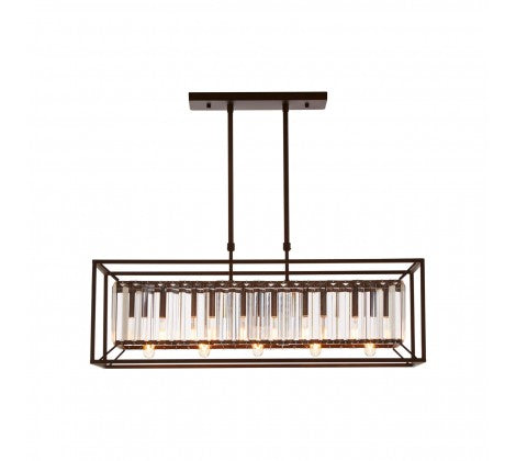 Black and Glass Rectangular Chandelier