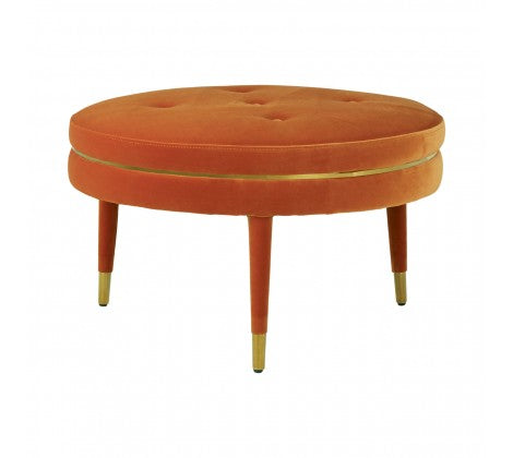 Orange Velvet Footstool