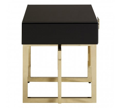 Black Glass and Gilt Side Table