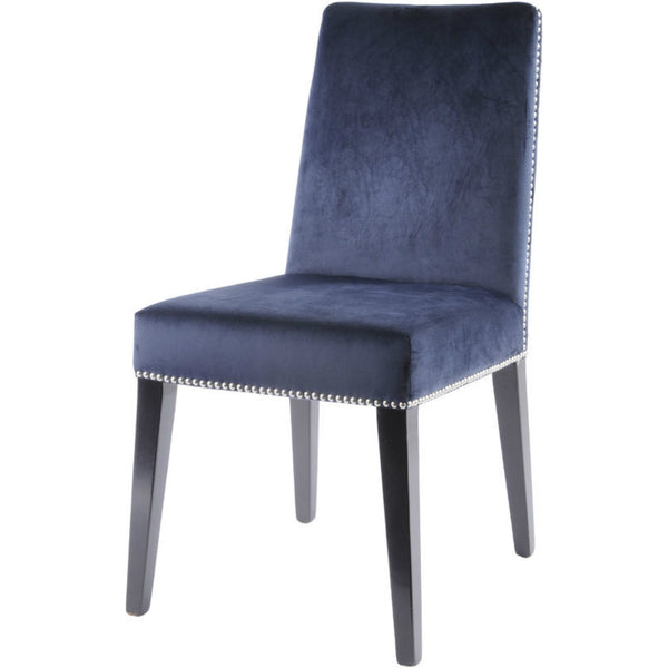 Studded Velvet & Birch Wood Dining Chair