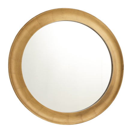 Black & Gold Leaf Framed Round Mirror