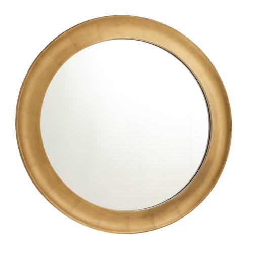 Gold Leaf Framed Round Mirror. (100 cm)
