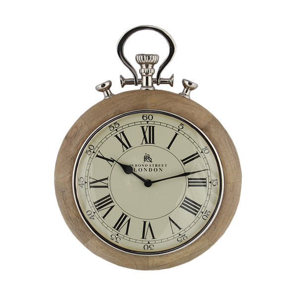 "Nickel & Wood ""London"" Stopwatch Wall Clock"