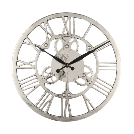 Chrome Skeleton Clock- 35 cm