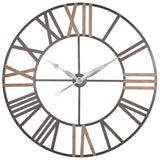 Large Antique Grey Metal & Wood Wall Clock