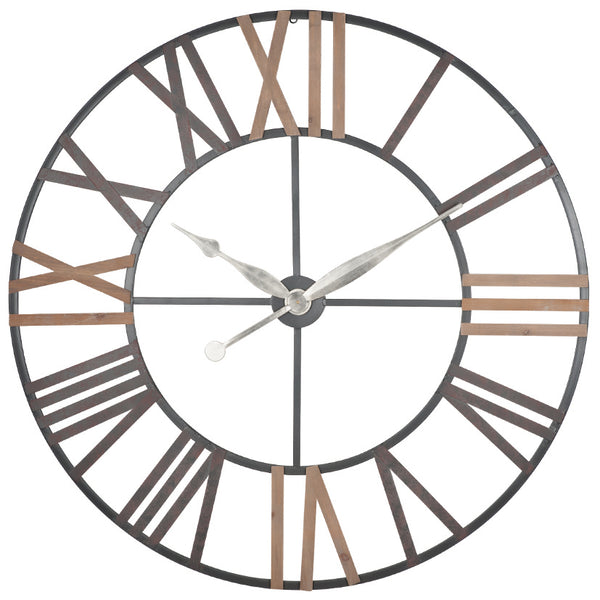 Large Antique Grey Metal & Wood Wall Clock 120cm