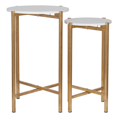 Marble Topped Gilt Tables (Set of 2)