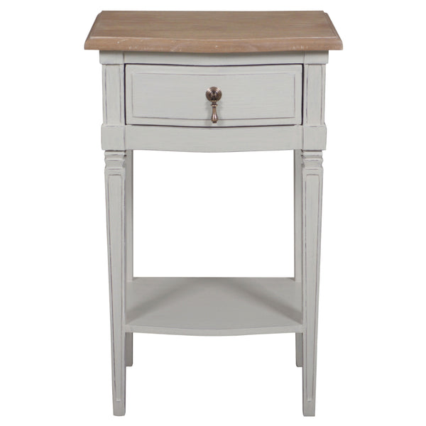 A traditional style hand painted French style bedside with elegant brass handles.  Made from solid and veneer wood and oak top, handpainted in a putty stone finish.   H: 65 cm W: 40 cm D: 30 cm