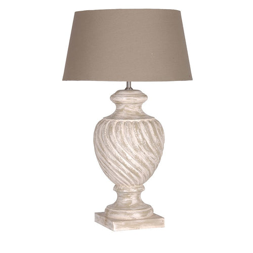Whitewash Lamp Beige Shade