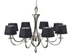 8 Branch Highly Polished Nickel Chandelier/Black Shades