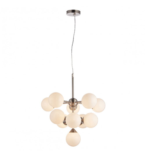 This opal glass cluster ball pendant is a sleek contemporary look for those looking to make a statement in a room.  W: 56 cm D: 56 cm H: 52 cm  The maximum height using all the extendable flex is 117cm.  11 LED 3w G9 Bulbs are required.