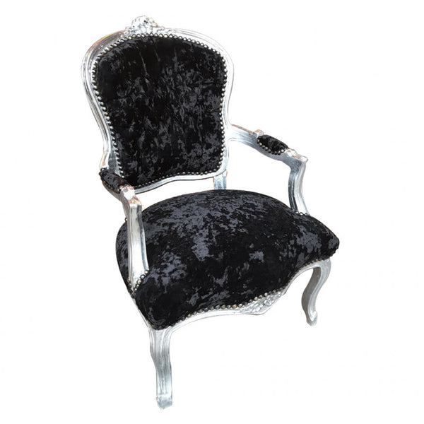 Crushed Black Velvet Chair with Silver Frame