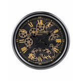 Moving parts cog clock. Black and gold face. Antique finish with visiable working parts.