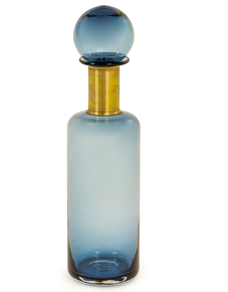 Slim Blue Glass Apothecary Bottle
