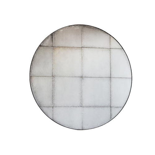 Round antiqued, aged glass mirror.  W: 100