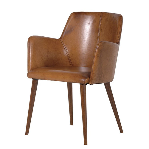 This beautifully crafted, sophisticated real leather chair supports your back and is so comfortable you can sit in it for hours on end.  A lovely chair for the office, study, living or dining area, this chair has a very slick and elegant look which comfortably supports the back and arms.   The leather on each chair is handpicked in Italy from top grain buffalo hide and hand finished with natural water based stains and waxes.  H: 89 cm  W: 59 cm  D: 50 cm  Arm Height: 69 cm