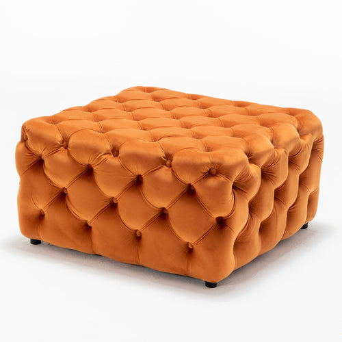 Burnt Orange Buttoned Footstool