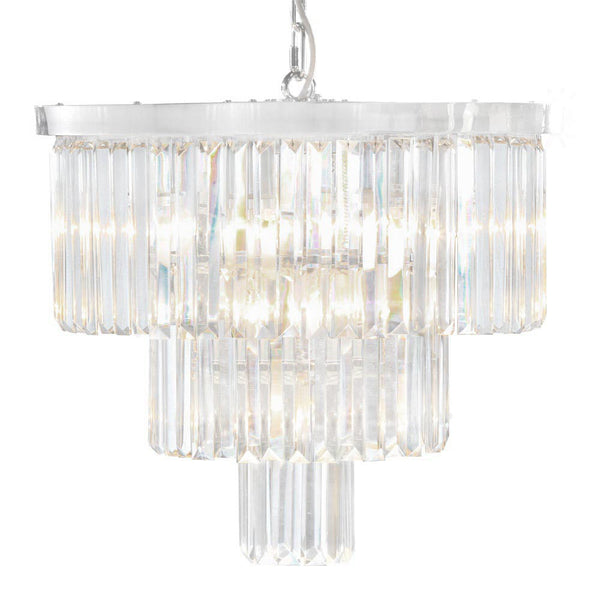 Large Chrome Prism Drop Round Cascade Chandelier