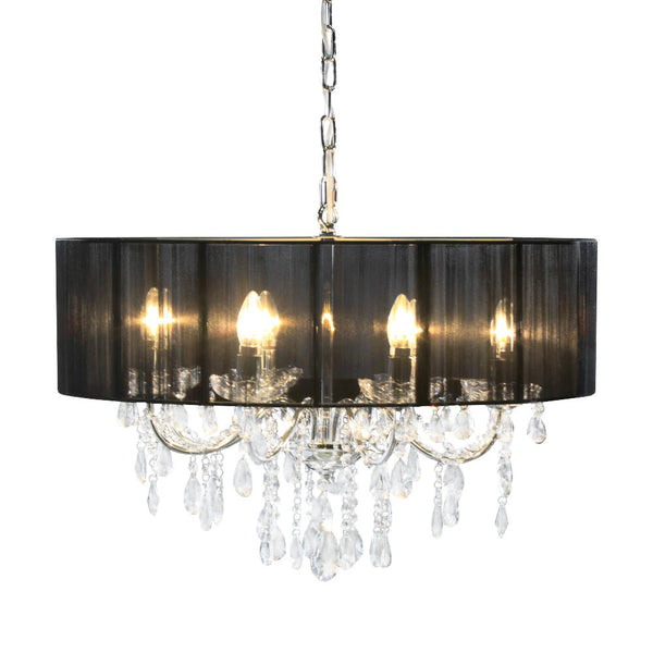 Chrome Crystal Chandelier With Shade