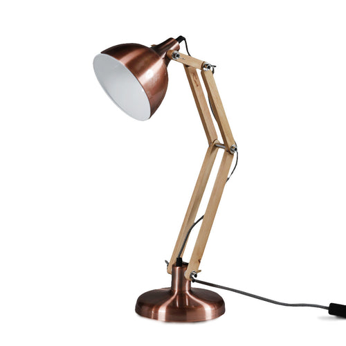 Copper & Wood Traditional Desk Lamp