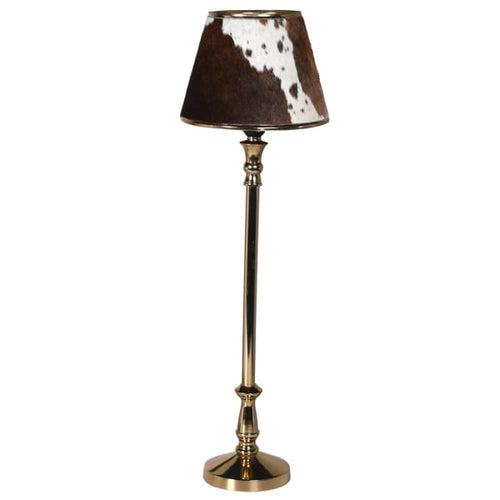 Tall brass metal shade with a distinctive metal shade covered in brown cow hide.  ' H: 63 cm  W: 20 cm