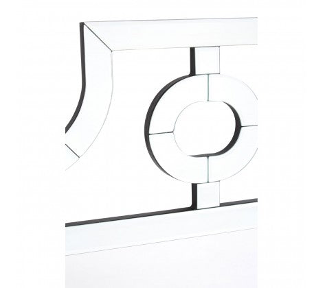 H: 110cm  W: 80cm  This elegant glass cut out mirror is stylish and simple while adds interest to your wall.  An unusual and interesting piece which will lift any space.